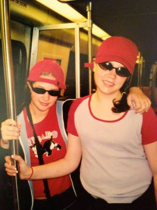 Us looking too cool in the subway during our 8th Grade Washington D.C. trip.