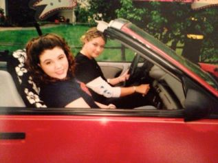 16-year-old us in Rachell's first car, she named him Saavy. He was a pirate-themed convertible.