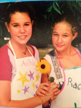 We made aprons in Home-Ec in the 6th grade and then took pictures in them...with this flower.