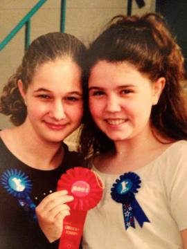 Us and our Science Fair ribbons for our volcano in the 7th grade.