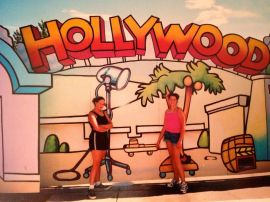 Us in the 7th grade posing in front of a Hollywood sign at an Amusement Park in Colorado. We live together a block from Hollywood now.